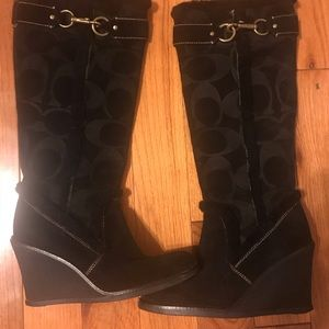 Coach Wedge Boots Suede Leather&Faux Knee High US8